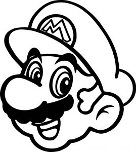 Super mario happy face coloring page