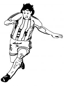 Super soccer player playing football soccer coloring page