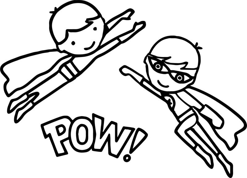 Superheroes Super Hero Kids Pow Coloring Page
