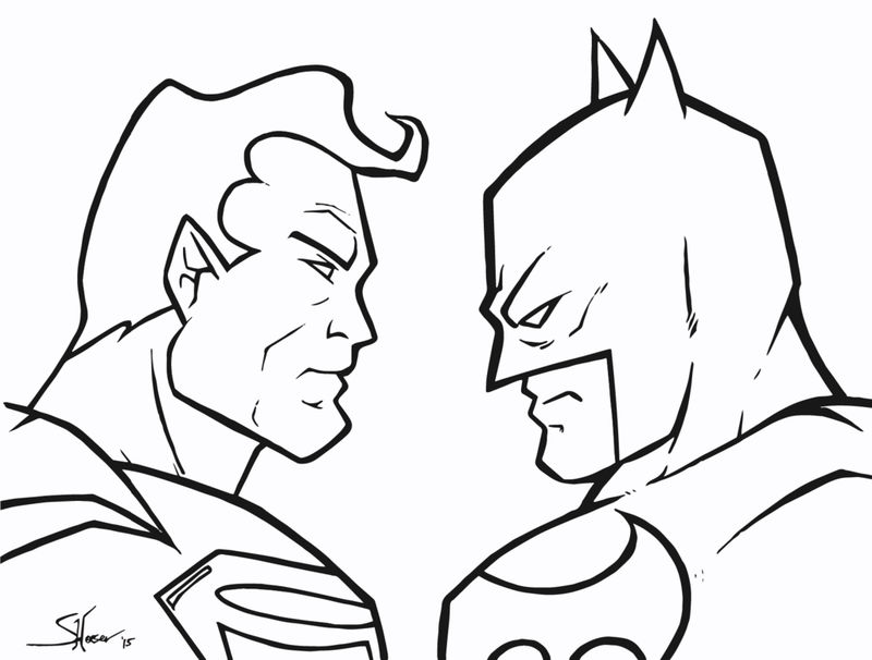 Superman batman superhero coloring page