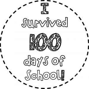 Survived 100 days of school coloring page