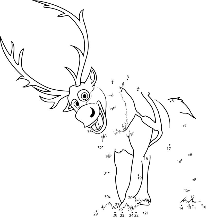 Sven Connect The Dots Game Easy Coloring Sheets