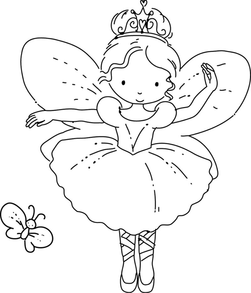 Sweet Cartoon Fairy Coloring Page