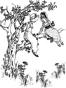 Sweet children in apple tree coloring page