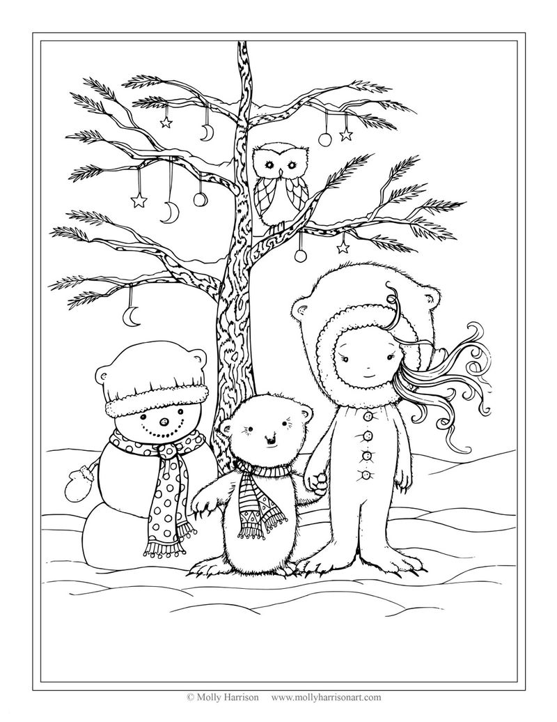 Sweet Christmas Scene Coloring Pages For Adults