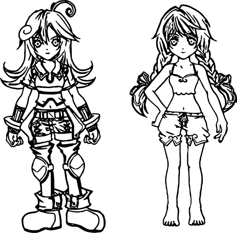 Sweet Cute Girls Characters Coloring Page