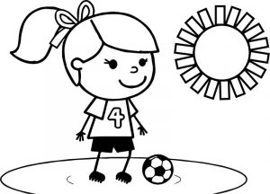 Sweet soccer girl playing football coloring page