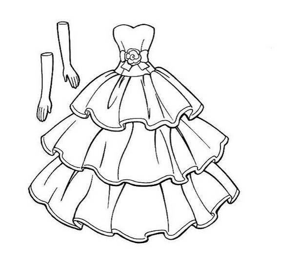 Sweet Wedding Dress Inspiration Coloring Page Online
