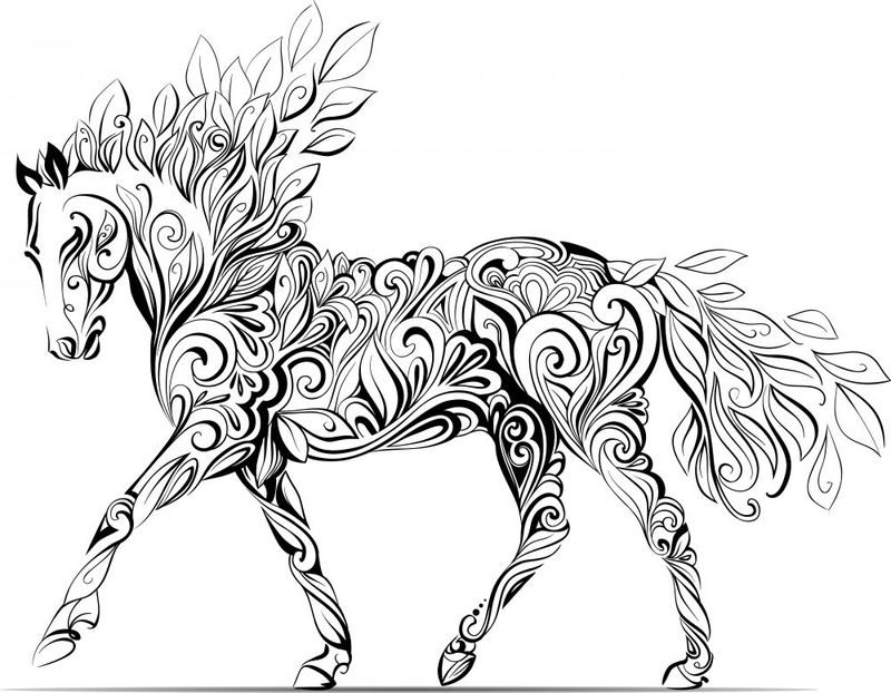 Swirled Horse Coloring Page