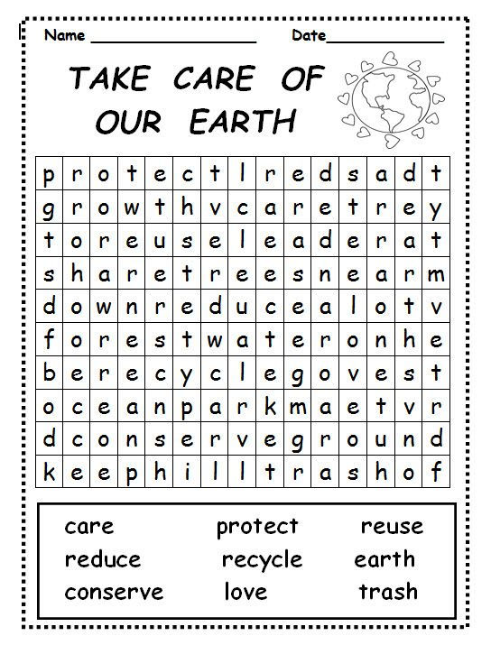 Take Care Of Our Earth Word Search
