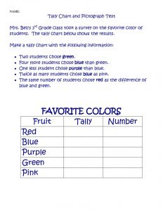 Tally chart worksheet colors