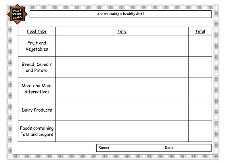 Tally Chart Worksheet Foods