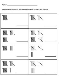 Tally mark worksheets 1st grade