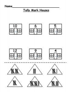 Tally marks worksheets house
