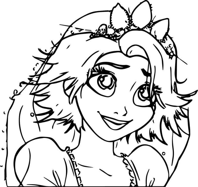 Tangled Ever After Rapunzel Wedding Bride Crown Happy Forever Cartoon Princess Coloring Page