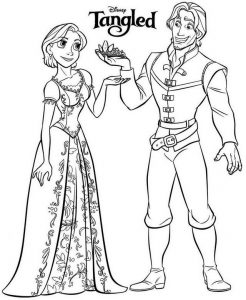 Tangled rapunzel short hair and flynn coloring page