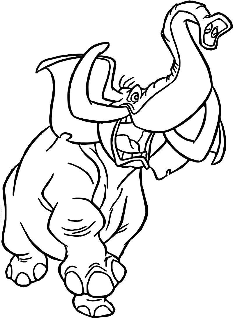 Tantor Elephant Frighten Coloring Page