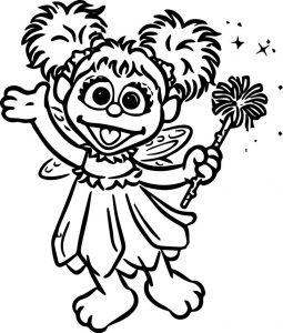 Tattly sesame street characters abby cadabby grande coloring page