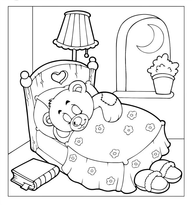 Teddy Bear Coloring Pages For Kids 001