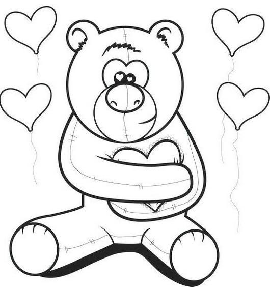 Teddy Bear Spreading Love Coloring Picture