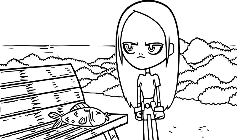 Teen Titans Go Beast Boy Fish And Girl Coloring Page