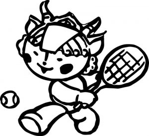 Tennis cartoon chinese cute coloring page