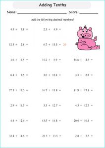 Tenths and hundredths worksheets addition