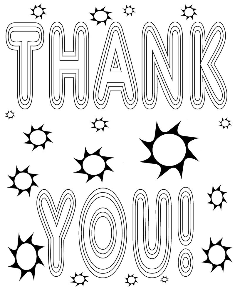 Thank You Colouring Sheet For Kids Activity