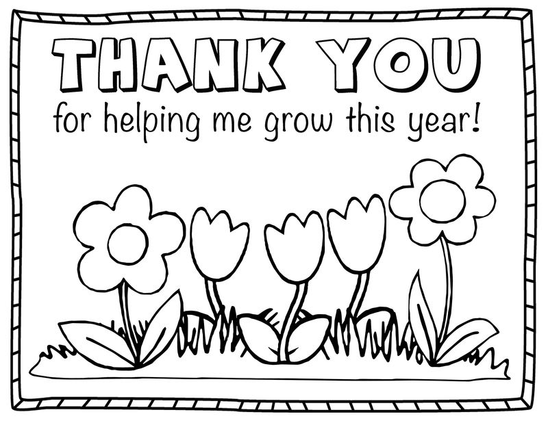 Thank You Colouring Sheet For Kids Flower
