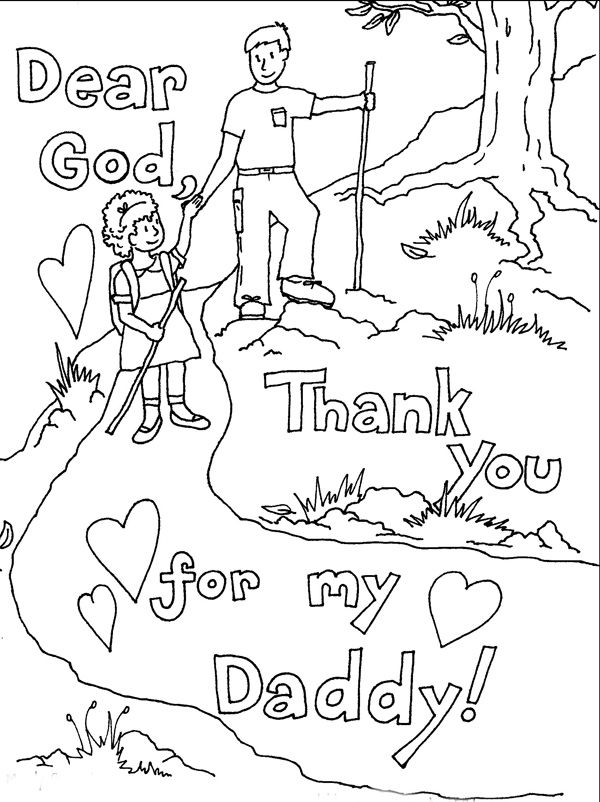 Thank You Daddy Fathers Day Coloring Page 001