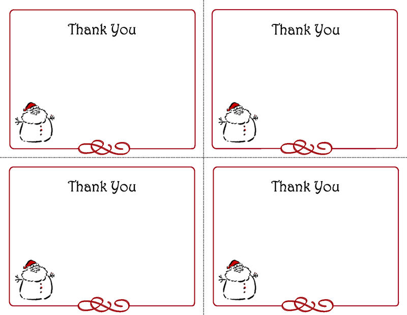 Thank You Note Template Christmas