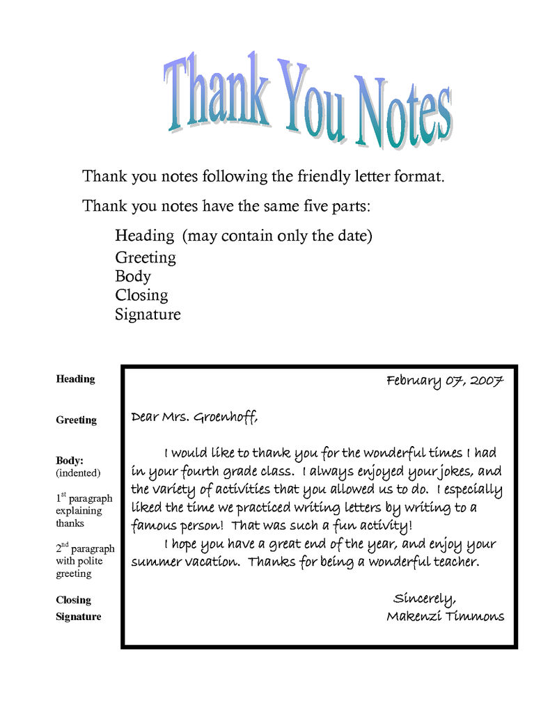 Thank You Note Template To Learn