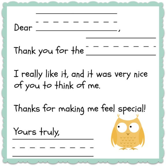 Thank You Note Templates For Kids