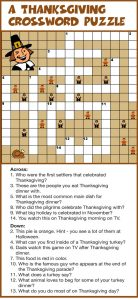 Thanksgiving crossword puzzle 1