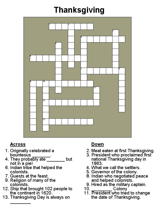 Thanksgiving Crossword Puzzle 2