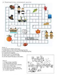 Thanksgiving crossword 1