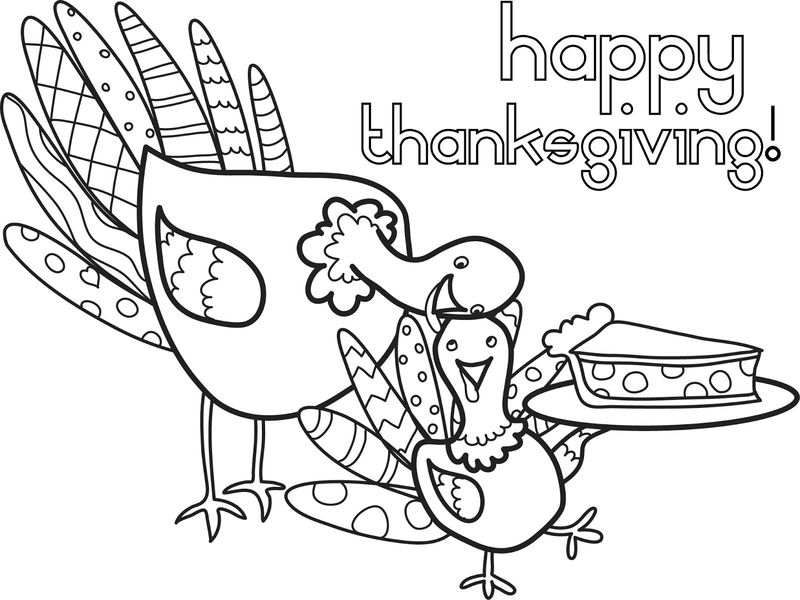 Thanksgiving Turkey And Pie November Coloring Page