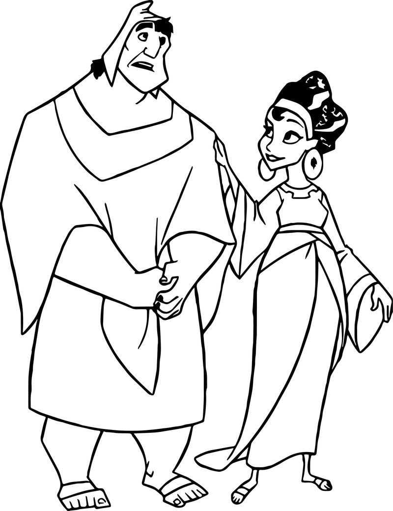 The emperor new groove disney man and girl coloring pages
