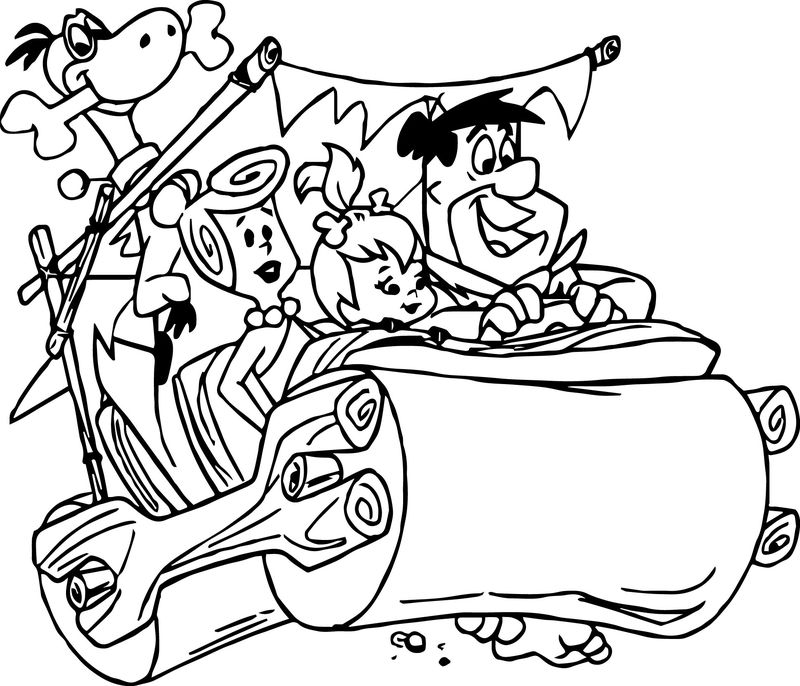 The Flintstones Fred Driving Car With Family Coloring Pages