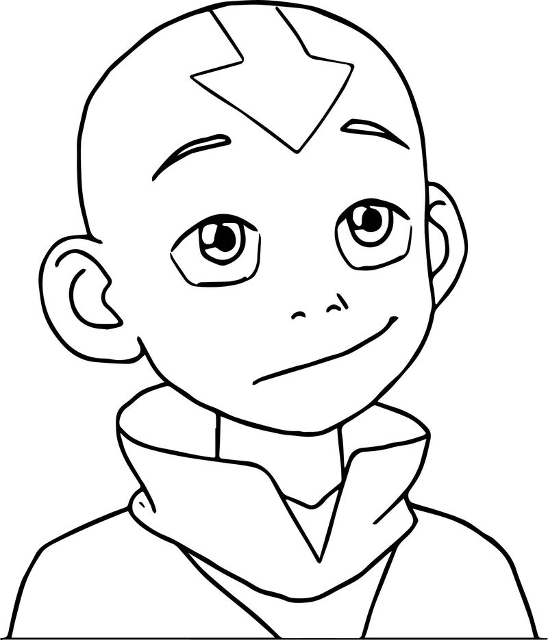 The Legend Of Aang Aang Portrait Coloring Page