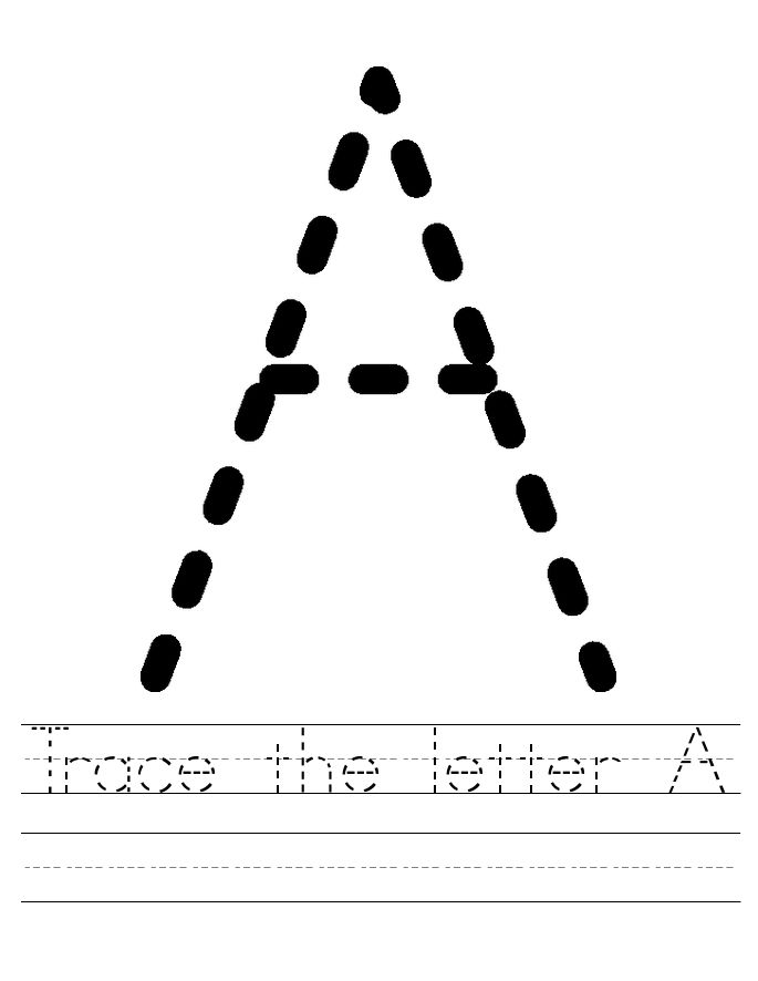The Letter A Worksheets Tracing Alphabet 001