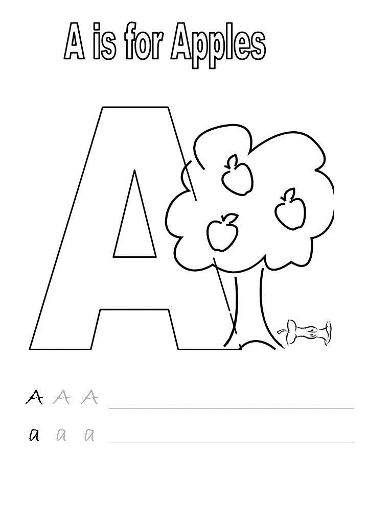 The Letter A Worksheets Tracing Coloring 001