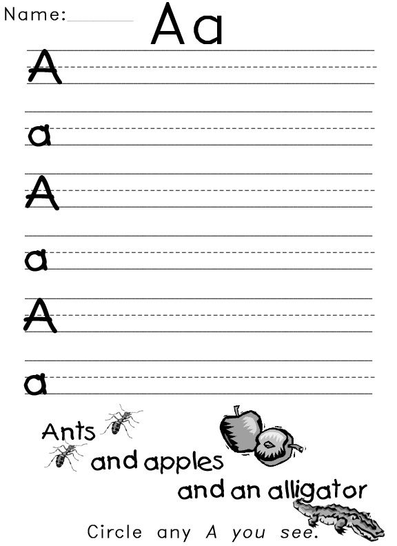 The Letter A Worksheets Uppercase Lowercase 001