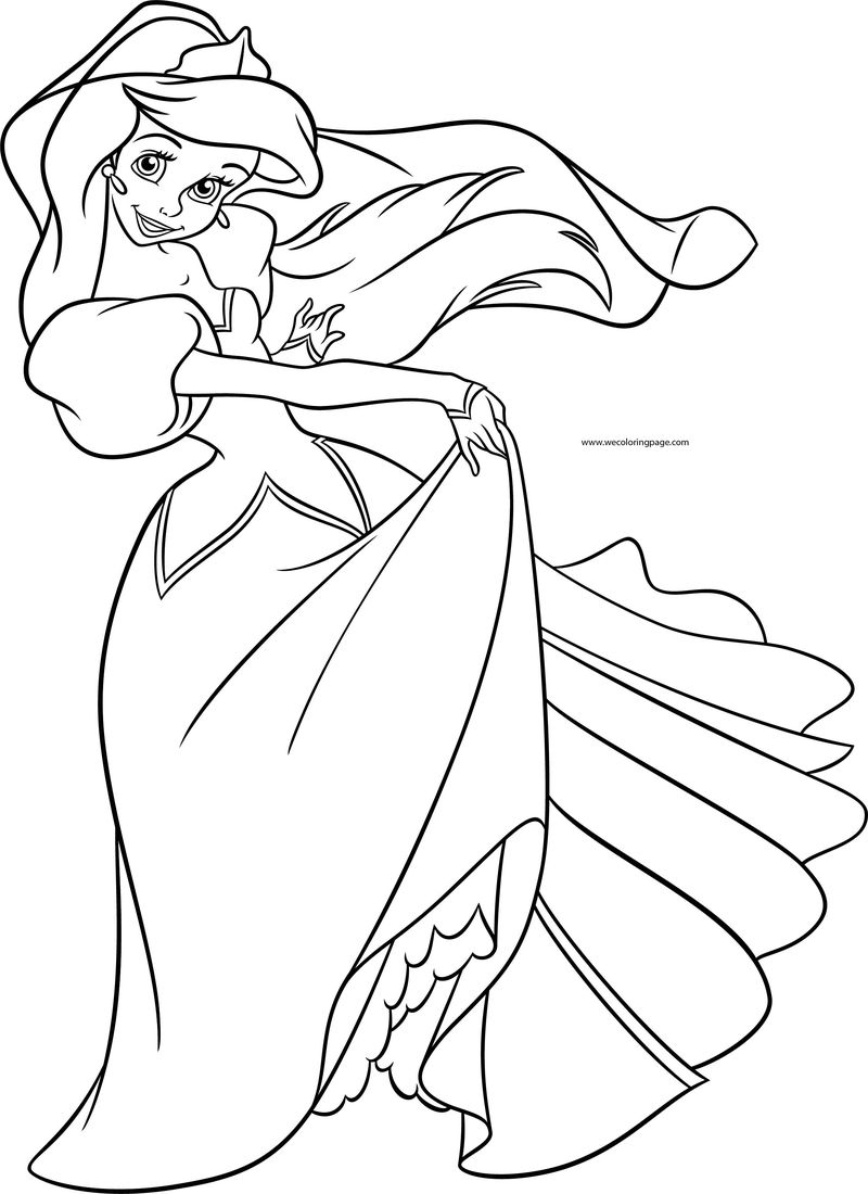 The Little Mermaid Beautiful Princess Disney Coloring Page