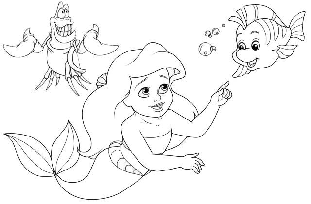The Little Mermaid Flounder And Sebastian Coloring Page