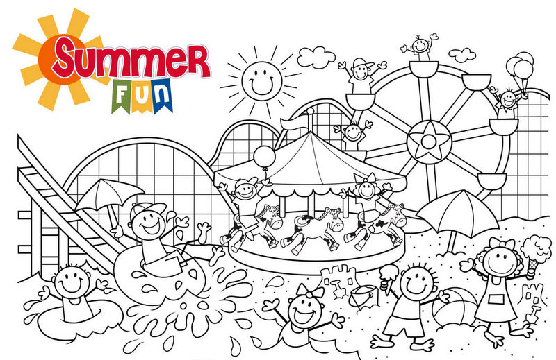 The Night Carnival Of Amusement Parks In Summer Coloring Page