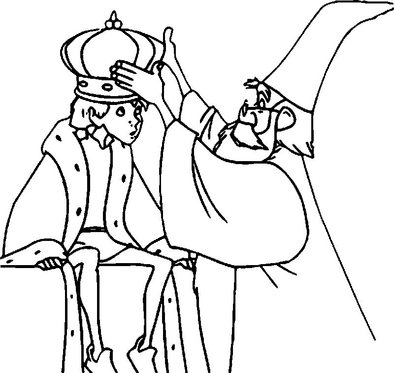 The Sword In The Stone King Arthur And Magic Man Coloring Pages