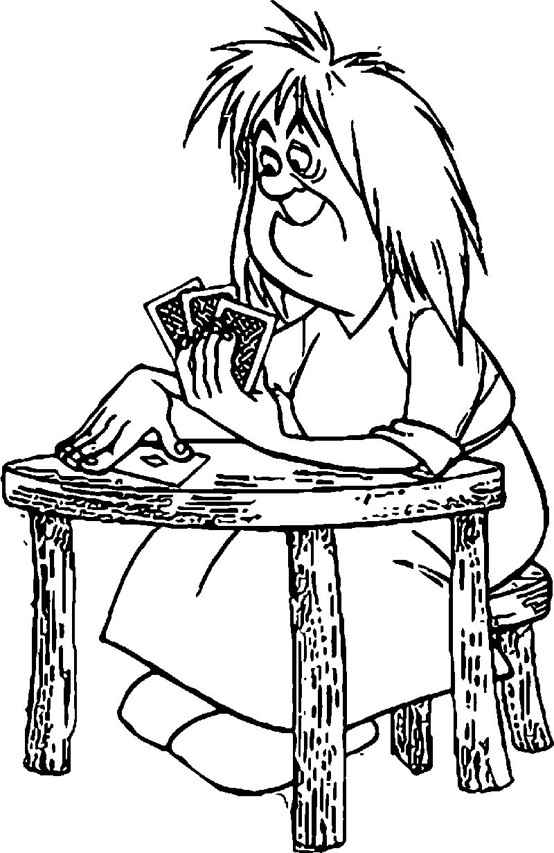 The Sword In The Stone Witch Mim Card Coloring Pages