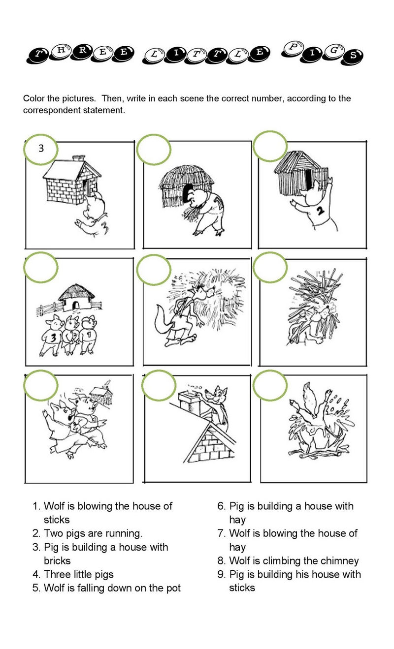 The Three Little Pigs Worksheets Matching