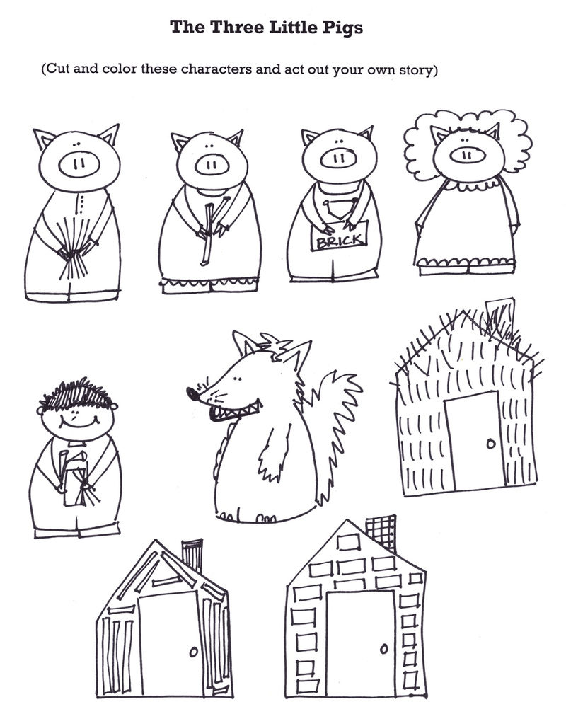 The Three Little Pigs Worksheets Puppets